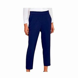 Babaton Ankle Trousers Slim Leg Knit Navy Blue Flat Front S